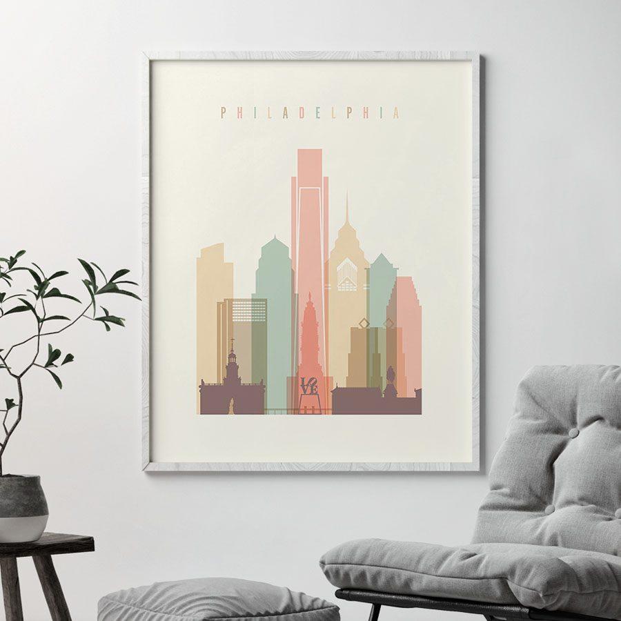 Philadelphia art print skyline pastel cream second