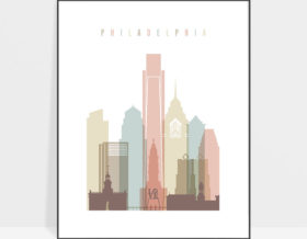 Philadelphia wall art pastel white