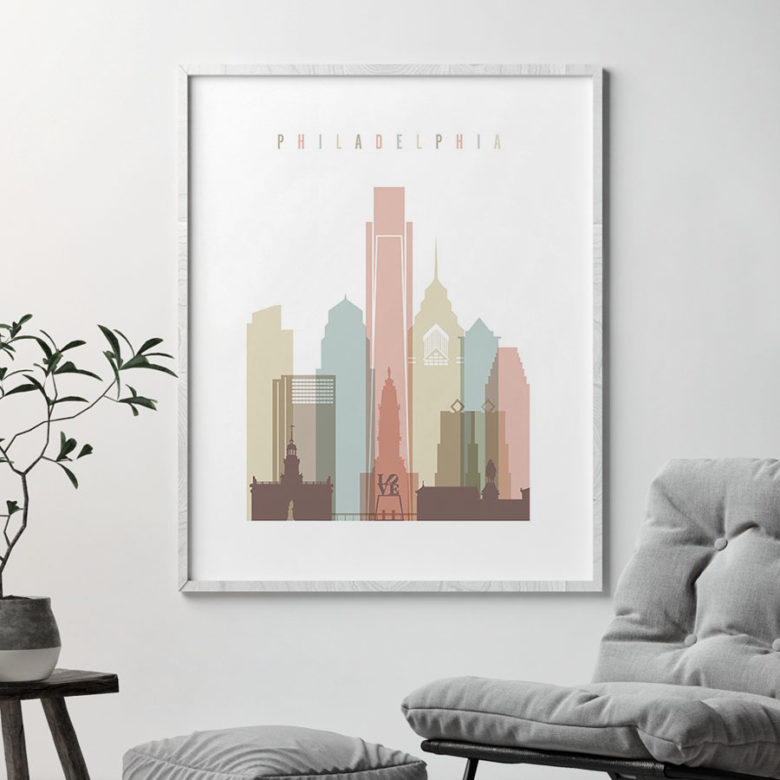 Philadelphia wall art pastel white second