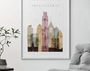 Philadelphia poster watercolor 1 second