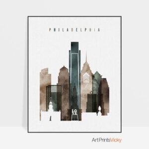 Philadelphia skyline art watercolor 2