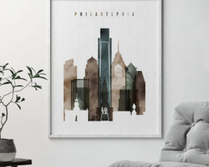 Philadelphia skyline art watercolor 2 second