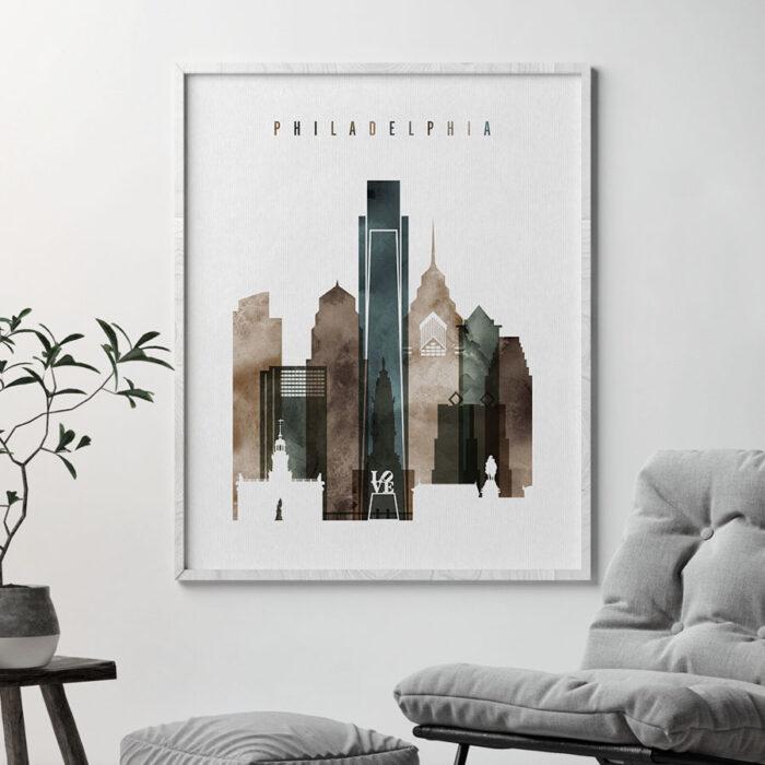 Philadelphia skyline art watercolor 2 second