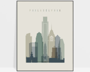 Philadelphia print skyline earth tones 1