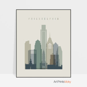 Philadelphia Skyline Earth Tones 1 Print