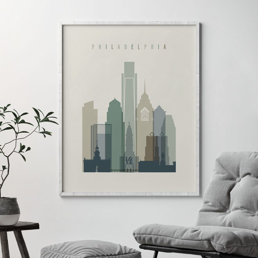 Philadelphia print skyline earth tones 1 second
