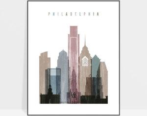 Philadelphia skyline poster distressed 1