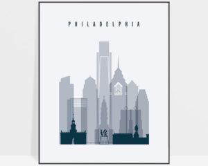 Philadelphia skyline poster grey blue