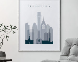 Philadelphia skyline poster grey blue second