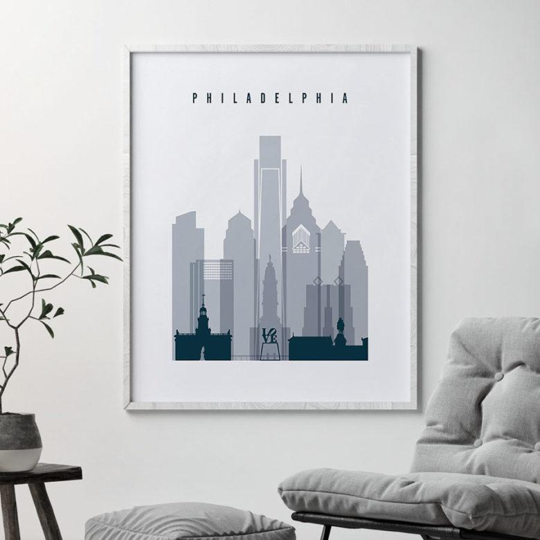 Philadelphia skyline poster grey blue second