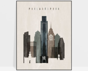 Philadelphia skyline print distressed 2