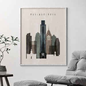 Philadelphia skyline print distressed 2 second