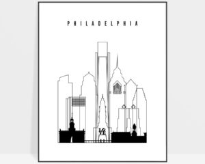 Philadelphia black and white skyline print