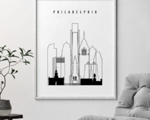 Philadelphia black and white skyline print second