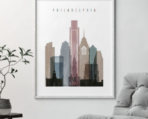 Philadelphia skyline poster distressed 1 second