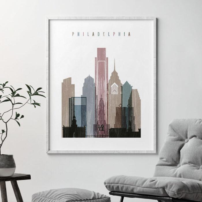 Philadelphia skyline poster distressed 1 second