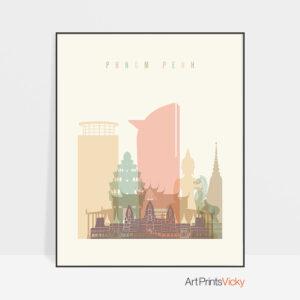 Phnom Penh art print skyline pastel cream