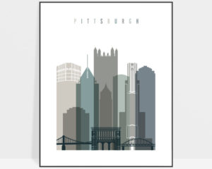 Pittsburgh art print skyline earth tones 4