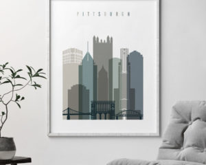 Pittsburgh art print skyline earth tones 4 second