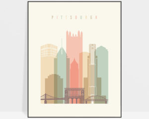 Pittsburgh art print skyline pastel cream