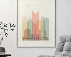 Pittsburgh art print skyline pastel cream second