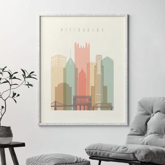 Pittsburgh art print skyline pastel cream second