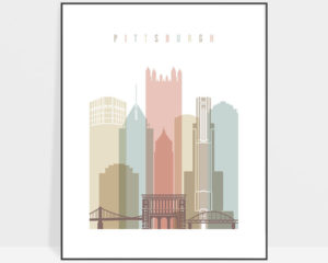 Pittsburgh wall art pastel white