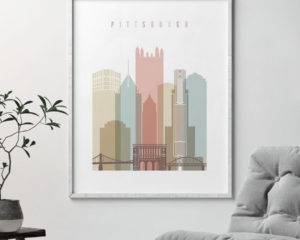 Pittsburgh wall art pastel white second