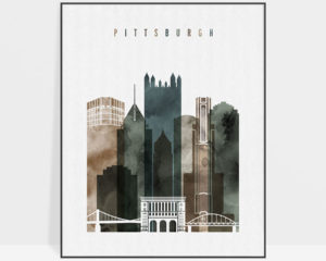 Pittsburgh skyline art watercolor 2