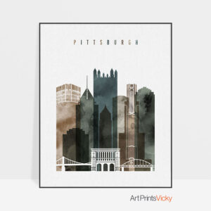 Pittsburgh skyline art watercolor 2
