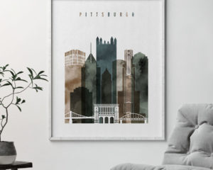 Pittsburgh skyline art watercolor 2 second