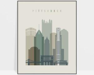 Pittsburgh print skyline earth tones 1