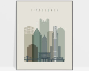 Pittsburgh print skyline earth tones 1