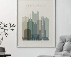 Pittsburgh print skyline earth tones 1 second