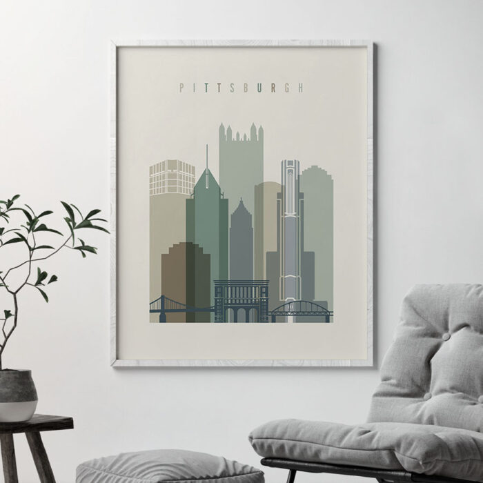 Pittsburgh print skyline earth tones 1 second