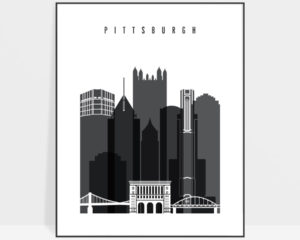 Pittsburgh skyline black and white print