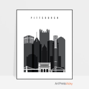 Pittsburgh skyline black and white print