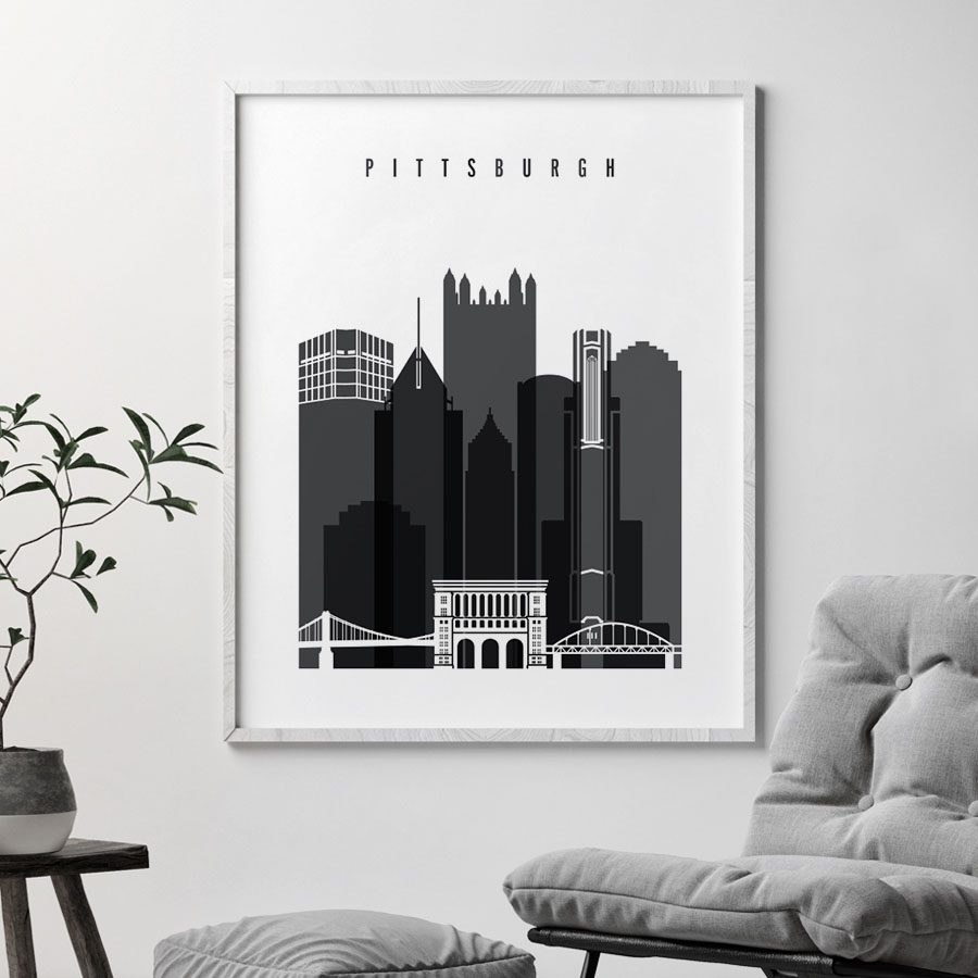 Pittsburgh skyline black and white print second