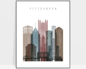 Pittsburgh skyline poster distressed 1