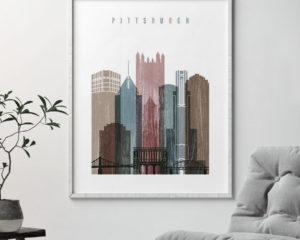 Pittsburgh skyline poster distressed 1 second