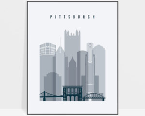 Pittsburgh skyline poster grey blue