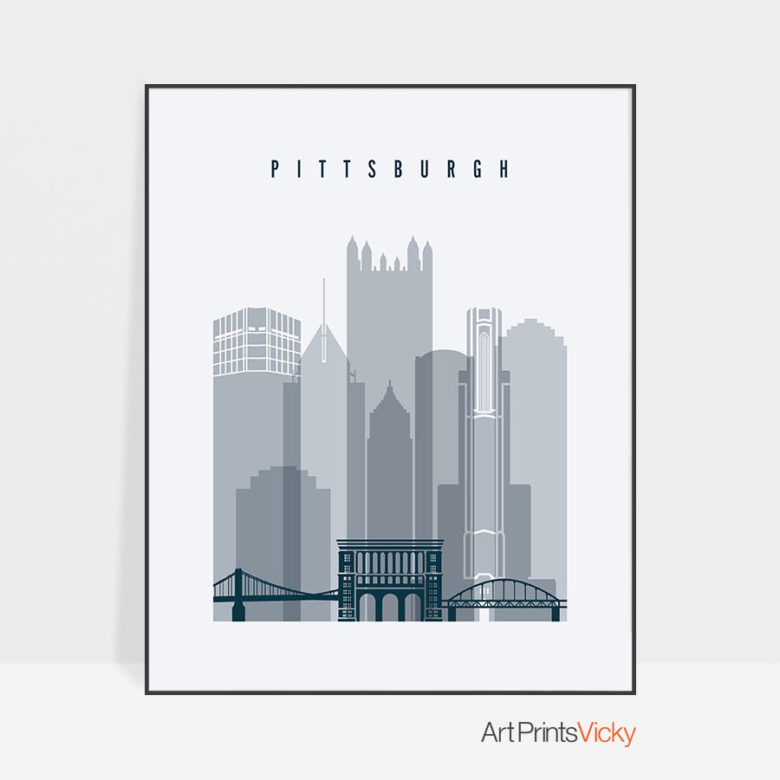 Pittsburgh skyline poster grey blue