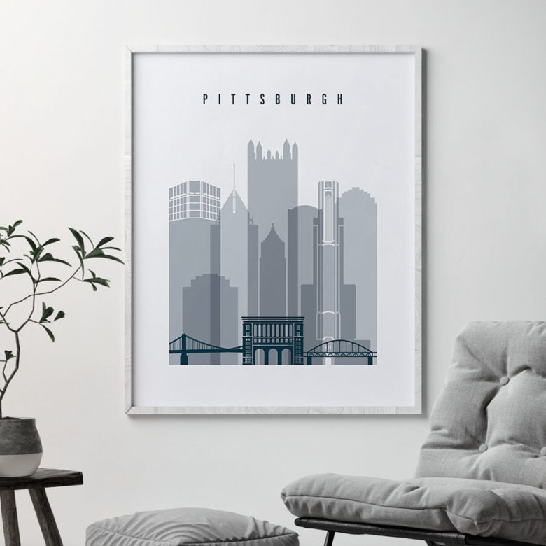 Pittsburgh skyline poster grey blue second