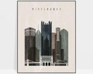 Pittsburgh skyline print distressed 2