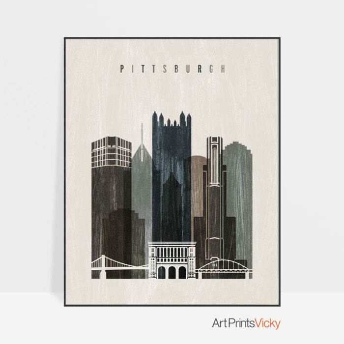 Pittsburgh skyline print distressed 2