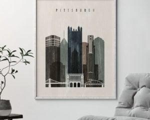 Pittsburgh skyline print distressed 2 second