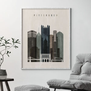 Pittsburgh skyline print distressed 2 second