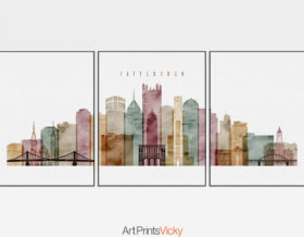 Pittsburgh set of 3 prints skyline watercolor 1