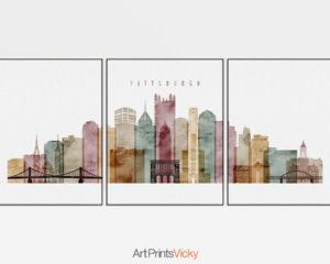 Pittsburgh set of 3 prints skyline watercolor 1
