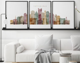 Pittsburgh set of 3 prints skyline watercolor 1 second